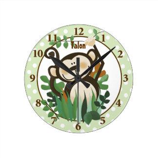 Reloj de pared personalizado mono lindo