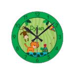 Reloj de pared personalizado selva del cuarto de n