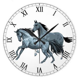 Reloj de pared pintado de los caballos