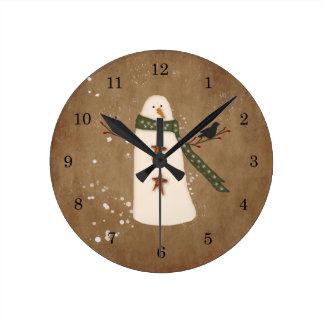 Reloj de pared primitivo del muñeco de nieve