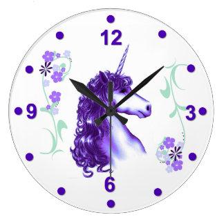 Reloj de pared púrpura bonito del unicornio