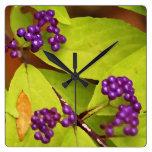 Reloj de pared púrpura de Beautyberry