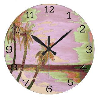 reloj de pared púrpura de las palmas