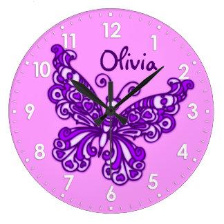 Reloj de pared púrpura del nombre del sitio de los