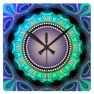 Reloj de pared púrpura del tiempo del verde maravi