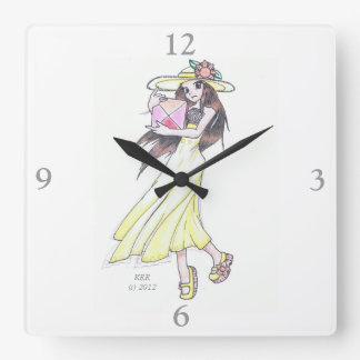 Reloj de pared que ofrece al chica en vestido y go