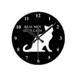 Reloj de pared real de los gatos del amor de los