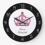 Reloj de pared real del monograma de la reina