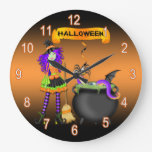 Reloj de pared redondo de Halloween de la caldera