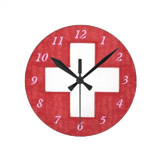 Reloj de pared redondo de la bandera suiza