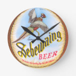 Reloj de pared redondo de la cerveza de Sebewaing