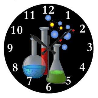 Reloj de pared redondo de la ciencia de la química