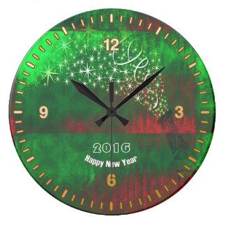 Reloj de pared redondo de la Feliz Año Nuevo 2016