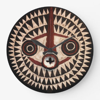 Reloj de pared redondo de la máscara africana -