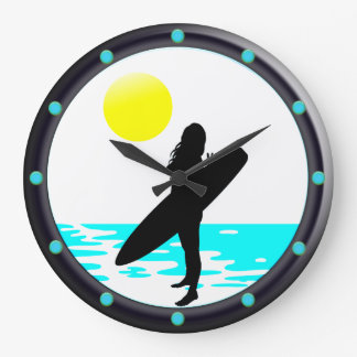Reloj de pared redondo de la playa de la resaca
