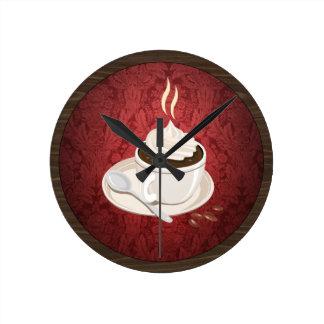 Reloj de pared redondo de la taza de café
