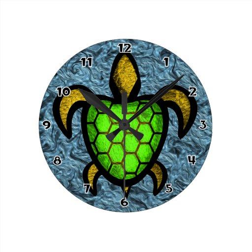 Reloj de pared redondo de la tortuga verde de Shel
