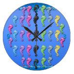 Reloj de pared redondo de los Seahorses