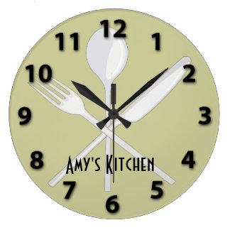 Reloj de pared redondo de los utensilios de la coc