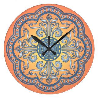 Reloj de pared redondo de Medival del azul y del a