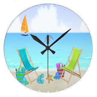 Reloj de pared redondo de relajación de la playa