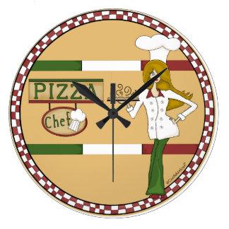 Reloj de pared redondo del cocinero de la pizza