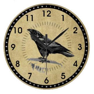 Reloj de pared redondo del cuervo del negro del vi