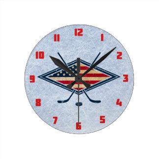Reloj de pared redondo del hockey de los E.E.U.U.