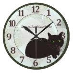 Reloj de pared redondo grande de encargo del gato