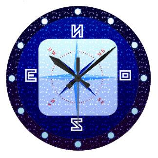 Reloj de pared redondo marítimo de Campass