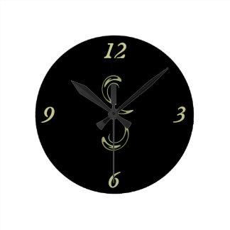 Reloj de pared redondo negro simplista elegante