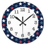Reloj de pared redondo patriótico de las estrellas
