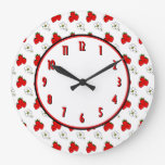 Reloj de pared retro de la cocina de la flor de la
