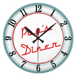 Reloj de pared retro de la cocina del comensal de