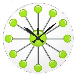 Reloj de pared retro de las bolas de la verde lima