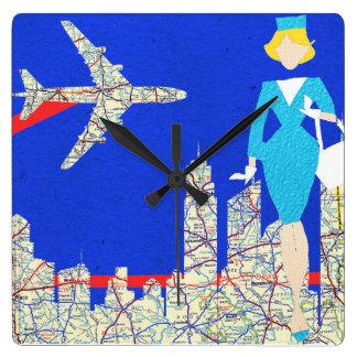 Reloj de pared retro del asistente de vuelo