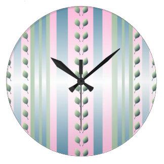 Reloj de pared retro rosado del papel pintado del