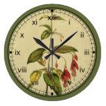 Reloj de pared rojo botánico de la flor de Curtis