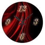 Reloj de pared rojo de Bling del satén