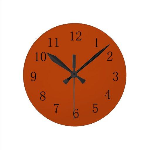 Reloj de pared rojo de la cocina del tono de la