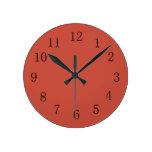 Reloj de pared rojo de la cocina del tono de la ti