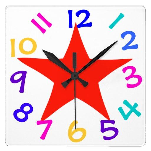 Reloj de pared rojo de la estrella de los números