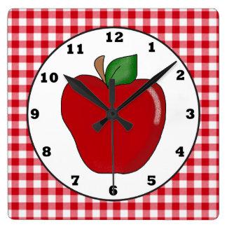 Reloj de pared rojo de la fruta de la manzana del