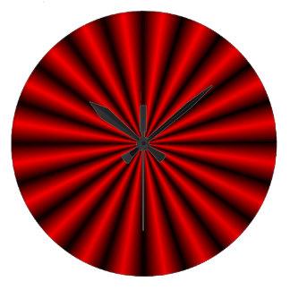 Reloj de pared rojo de la ilusión óptica del efect
