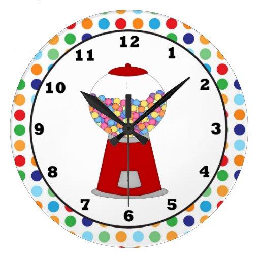 Reloj de pared rojo de la máquina de Gumball