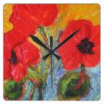 Reloj de pared rojo de las amapolas de París
