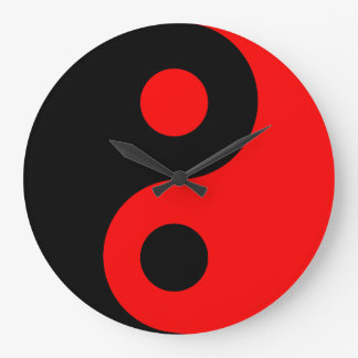 Reloj de pared rojo de Yin Yang