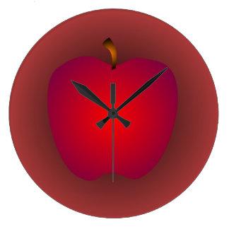 Reloj de pared rojo grande de Apple