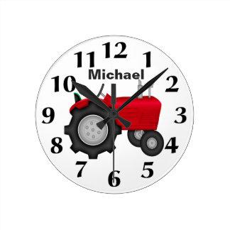 Reloj de pared rojo personalizado del tractor