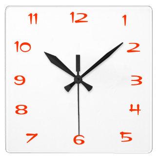 Reloj de pared rojo y blanco de la cocina de Plain